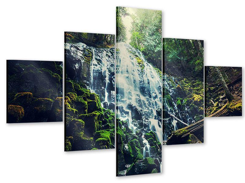 Acrylglasbild 5-teilig Feng Shui & Wasserfall