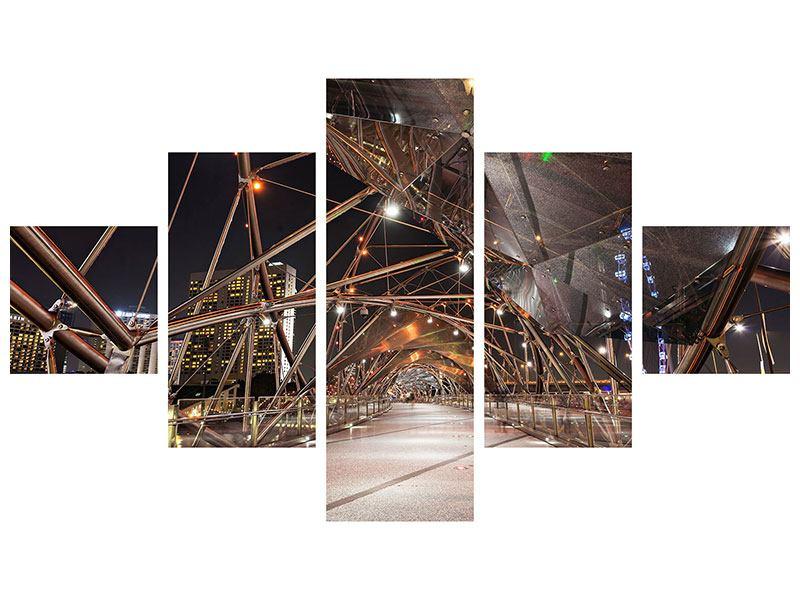 Acrylglasbild 5-teilig Brückenlichter