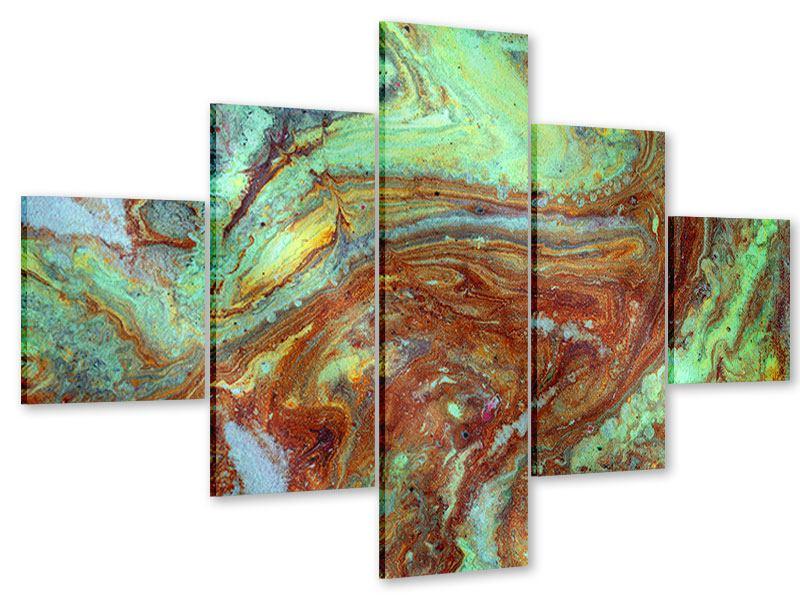 Acrylglasbild 5-teilig Marmor in Grün