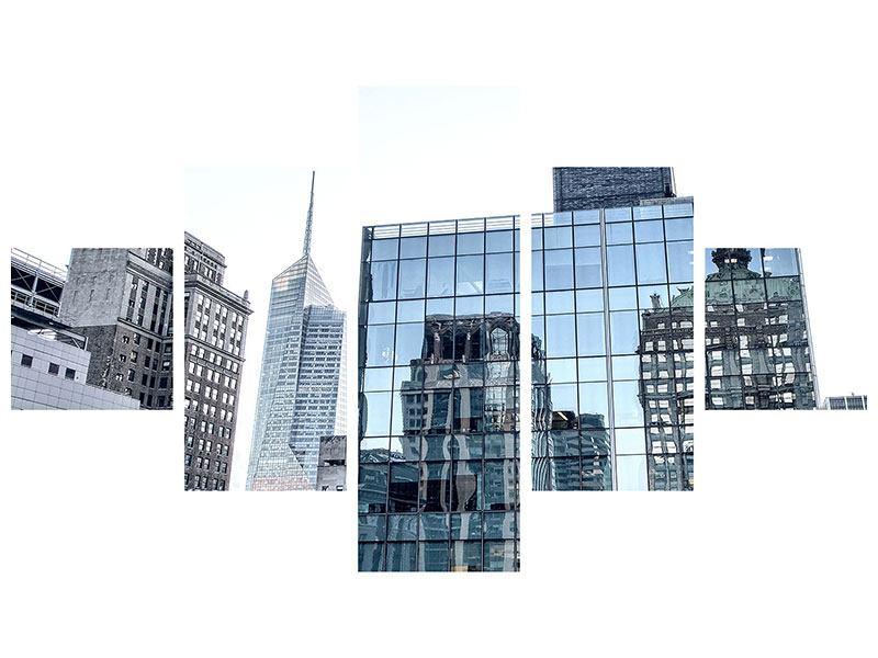 Acrylglasbild 5-teilig Wolkenkratzer NYC