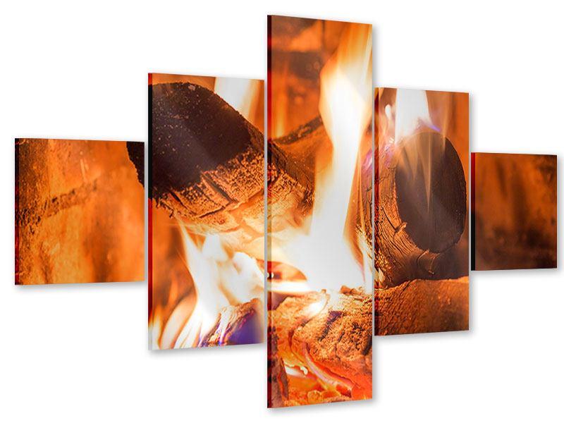Acrylglasbild 5-teilig Kaminfeuer