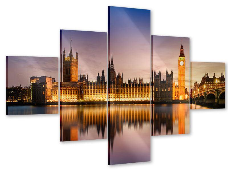 Acrylglasbild 5-teilig Big Ben in der Nacht