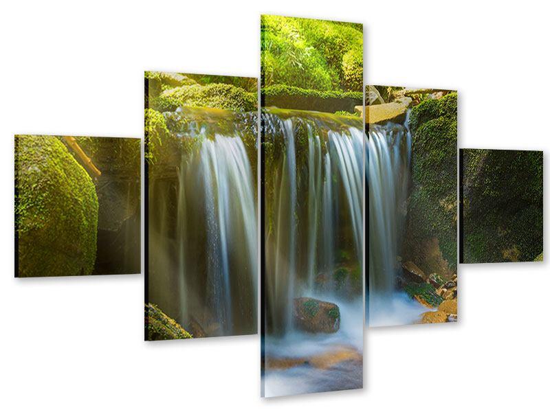 Acrylglasbild 5-teilig Schönheit des fallenden Wassers
