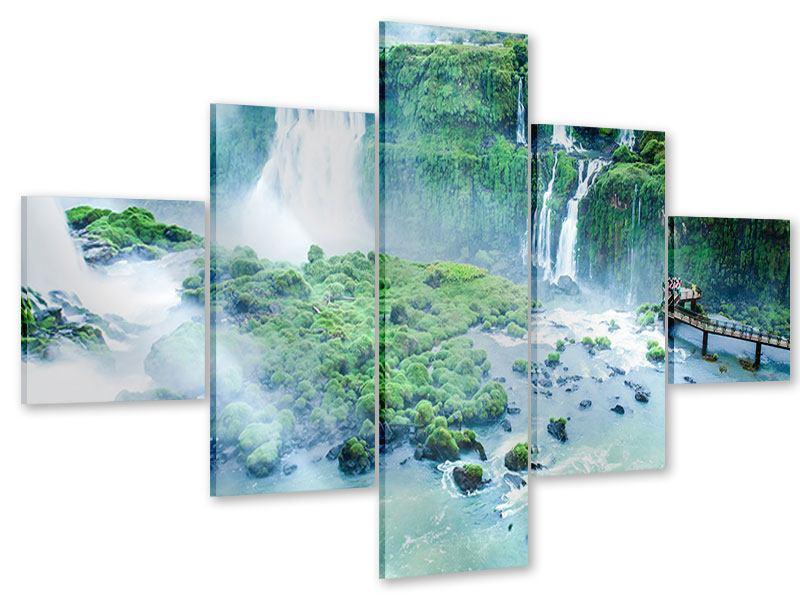 Acrylglasbild 5-teilig Wasserfälle