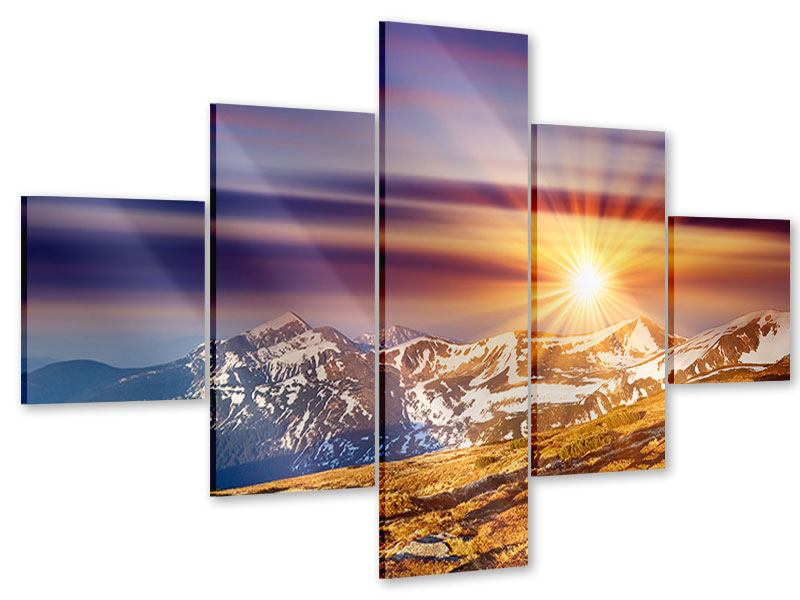 Acrylglasbild 5-teilig Majestätischer Sonnuntergang am Berggipfel