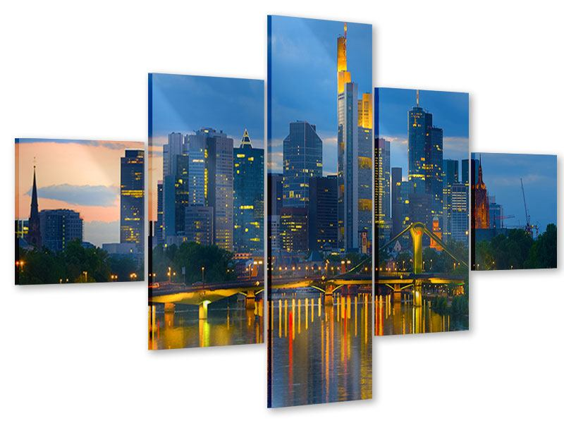 Acrylglasbild 5-teilig Skyline Frankfurt am Main