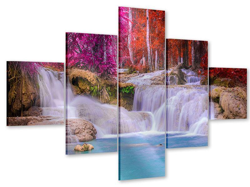 Acrylglasbild 5-teilig Paradiesischer Wasserfall