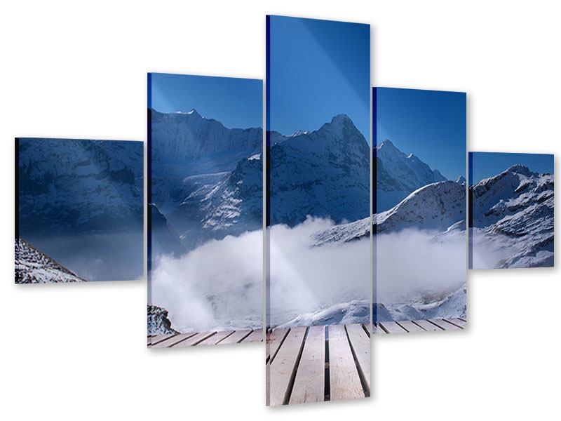 Acrylglasbild 5-teilig Sonnenterrasse in den Schweizer Alpen