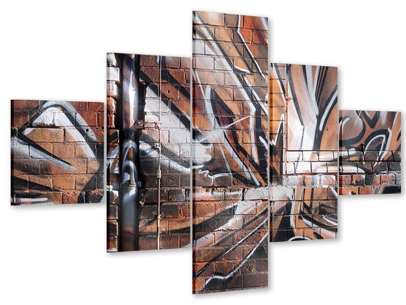 Acrylglasbild 5-teilig Graffiti Mauer
