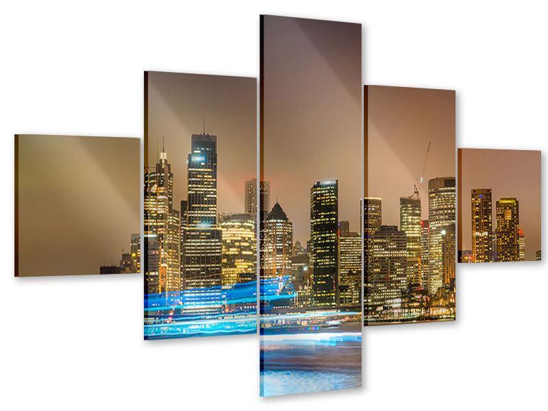 Acrylglasbild 5-teilig Skyline Sydney im Lichtermeer