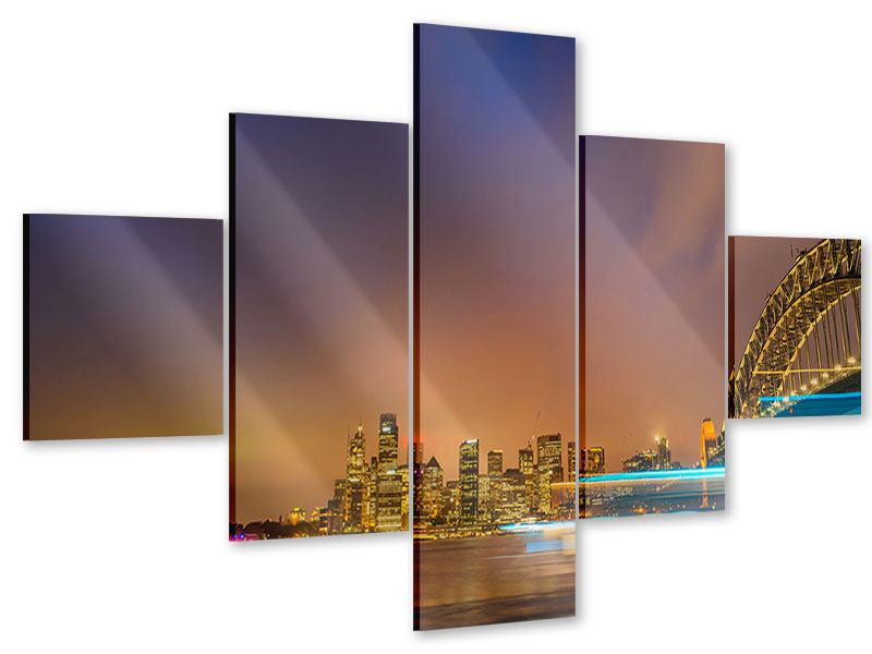 Acrylglasbild 5-teilig Skyline Opera House in Sydney im Abendlicht