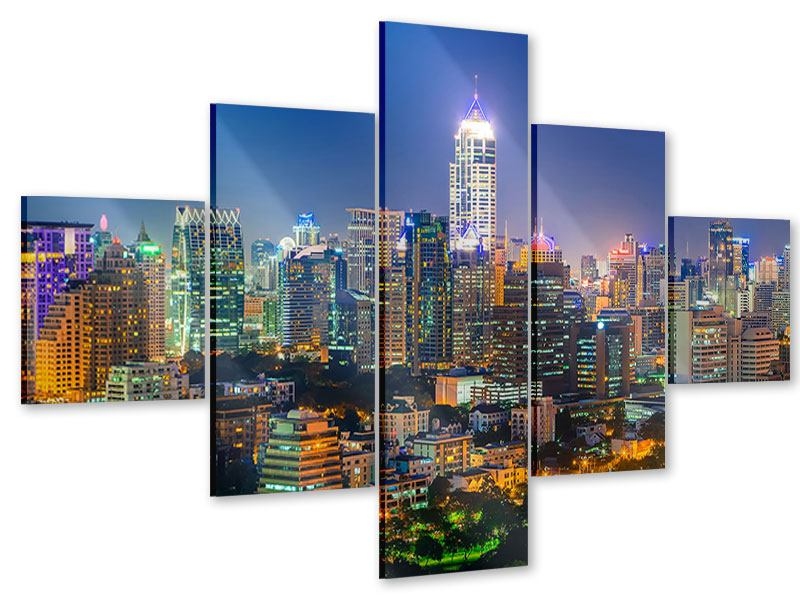 Acrylglasbild 5-teilig Skyline One Night in Bangkok