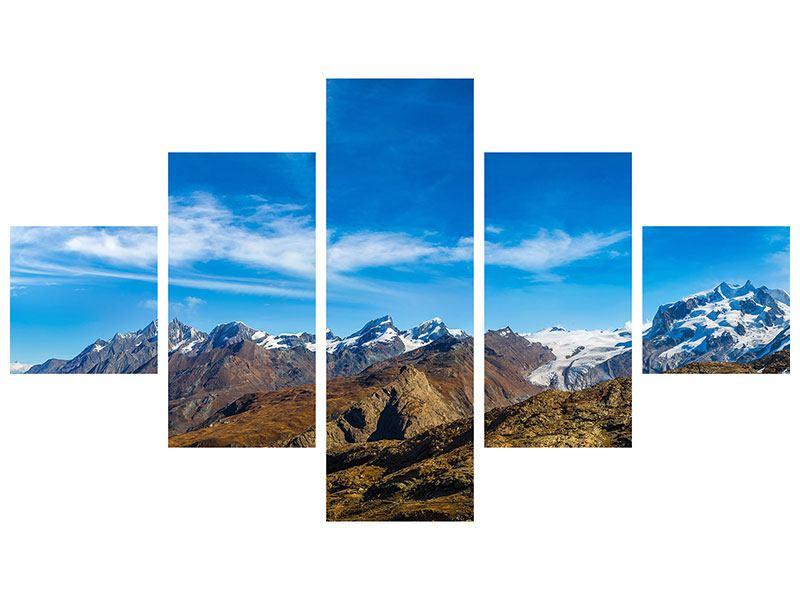 Acrylglasbild 5-teilig Schweizer Alpen im Frühling
