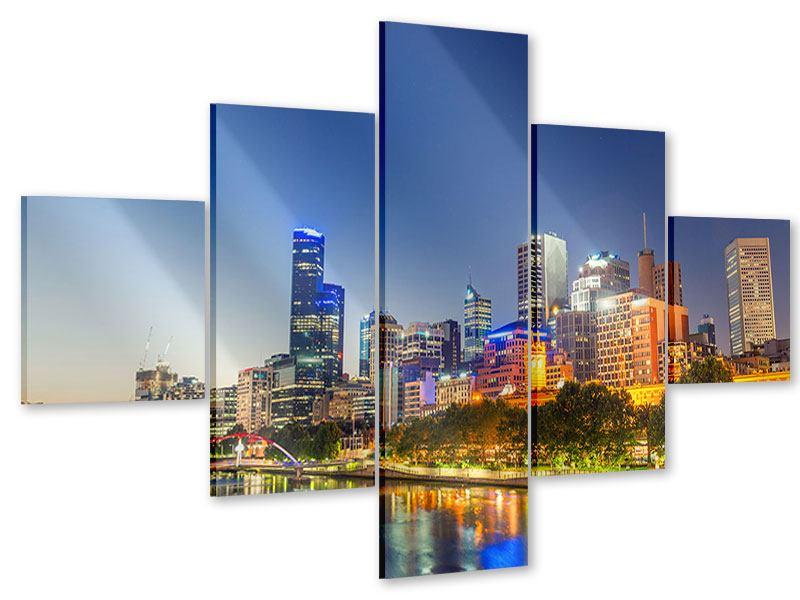 Acrylglasbild 5-teilig Skyline Sydney in der Abenddämmerung