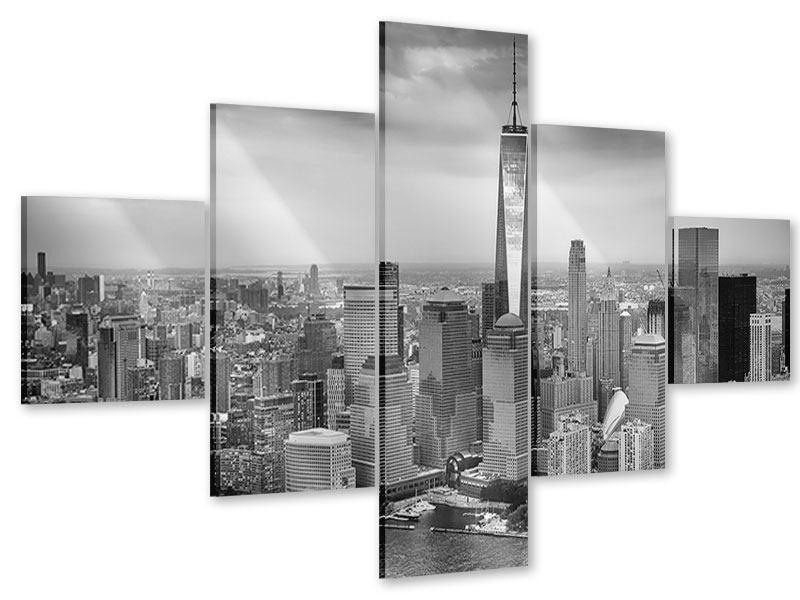 Acrylglasbild 5-teilig Skyline Schwarzweissfotografie New York