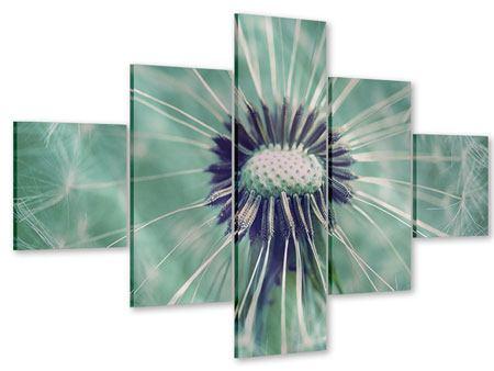 Acrylglasbild 5-teilig Close Up Pusteblume
