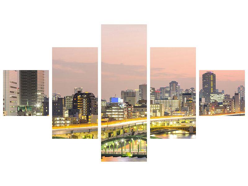 Acrylglasbild 5-teilig Skyline Das Lichtermeer von Tokio