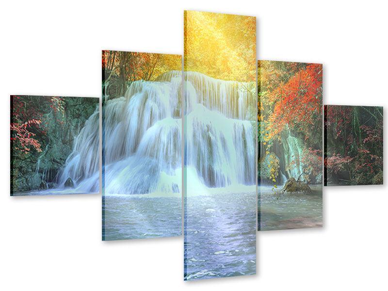 Acrylglasbild 5-teilig Wasserfall im Licht