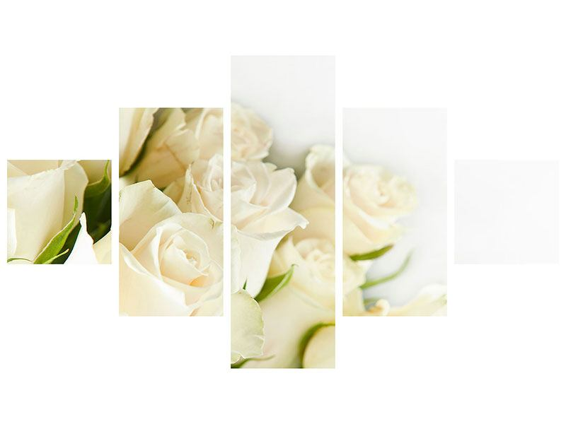 Acrylglasbild 5-teilig Weisse Rosen