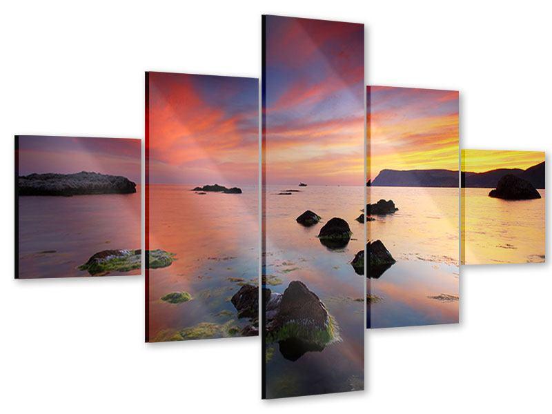 Acrylglasbild 5-teilig Ein Sonnenuntergang am Meer