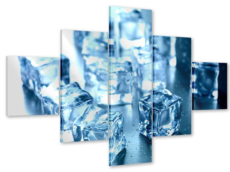 Acrylglasbild 5-teilig Viele Eiswürfel