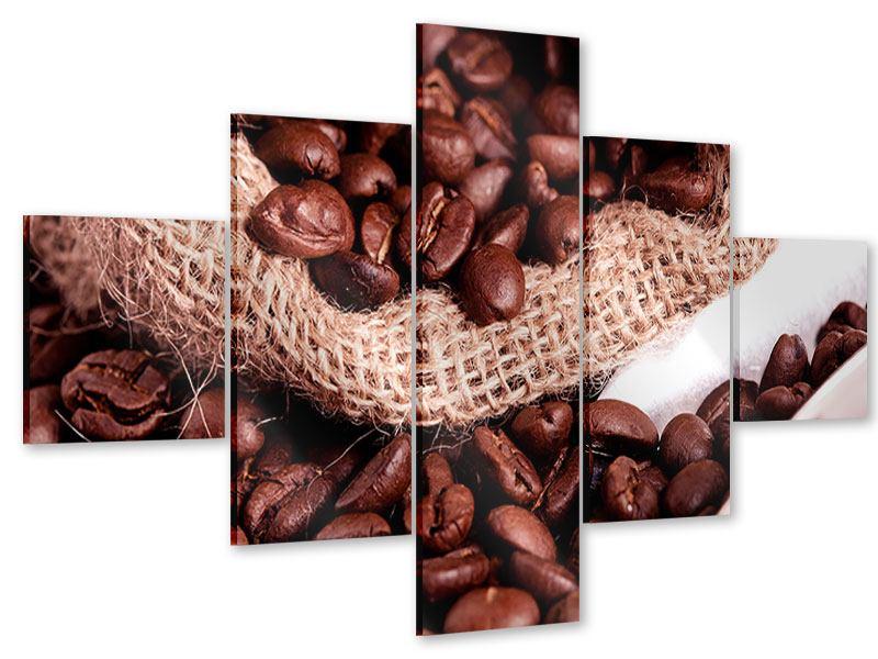 Acrylglasbild 5-teilig XXL Kaffeebohnen