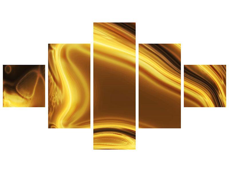 Acrylglasbild 5-teilig Abstrakt Flüssiges Gold