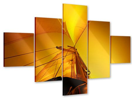 Acrylglasbild 5-teilig Segelboot im Sonnenuntergang
