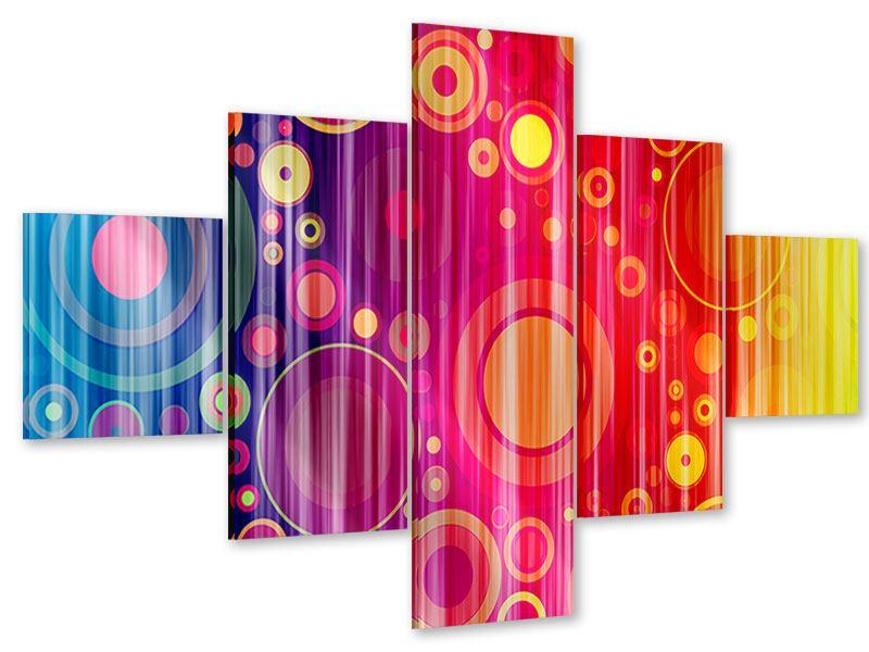 Acrylglasbild 5-teilig Grunge-Retrokreise