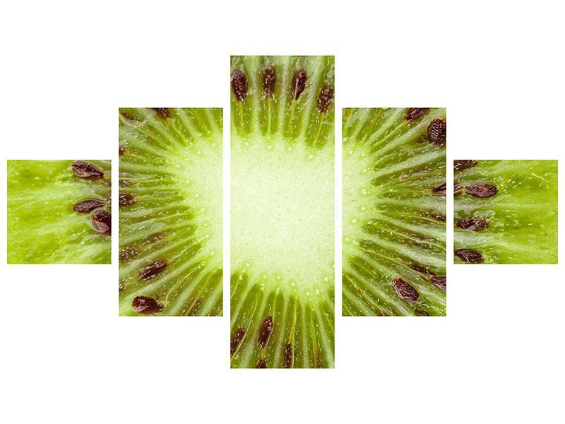 Acrylglasbild 5-teilig Close Up Kiwi