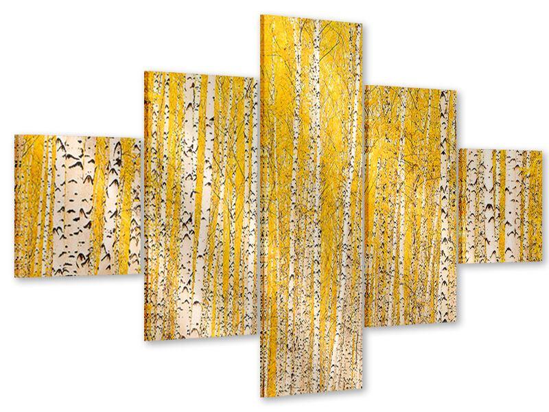 Acrylglasbild 5-teilig Der Birkenwald im Herbst