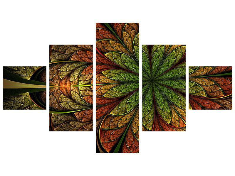 Acrylglasbild 5-teilig Abstraktes Blumenmuster