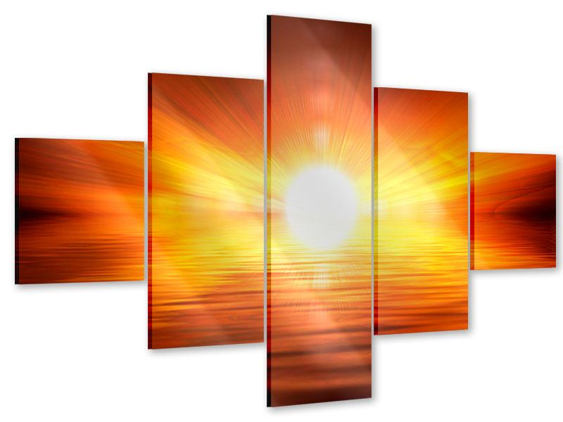 Acrylglasbild 5-teilig Glühender Sonnenuntergang