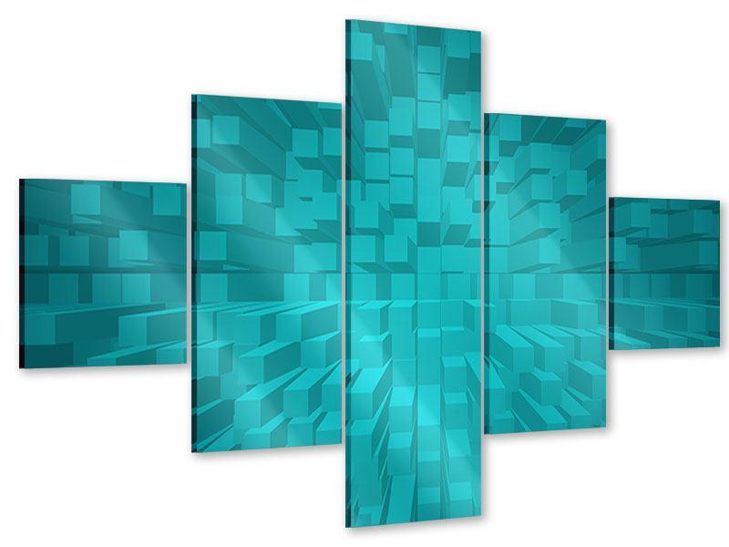 Acrylglasbild 5-teilig 3D-Kubusse