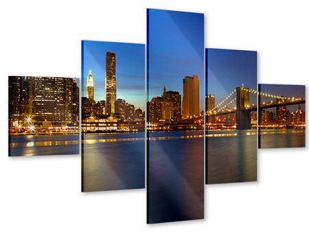Acrylglasbild 5-teilig Skyline Manhattan im Lichtermeer