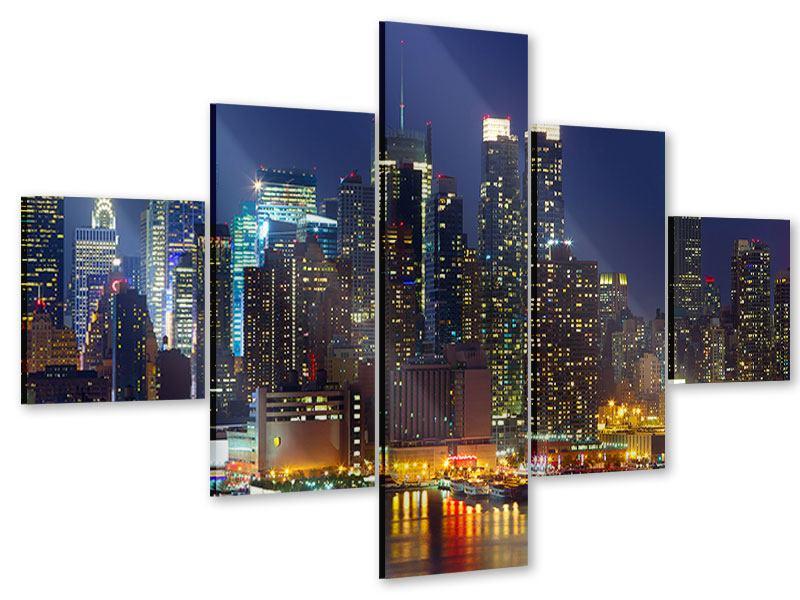 Acrylglasbild 5-teilig Skyline New York Midtown bei Nacht