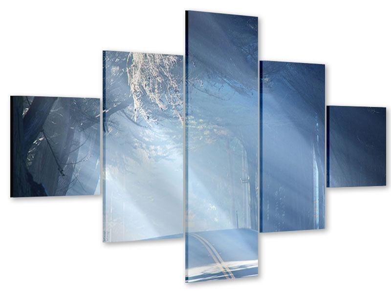 Acrylglasbild 5-teilig Lichtdurchflutete Baumallee