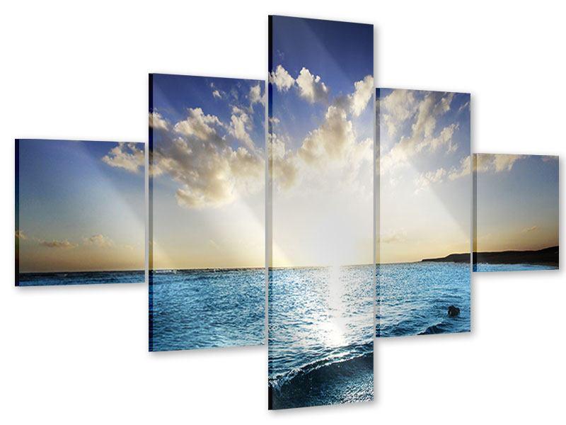 Acrylglasbild 5-teilig Das Meer im Sonnenaufgang