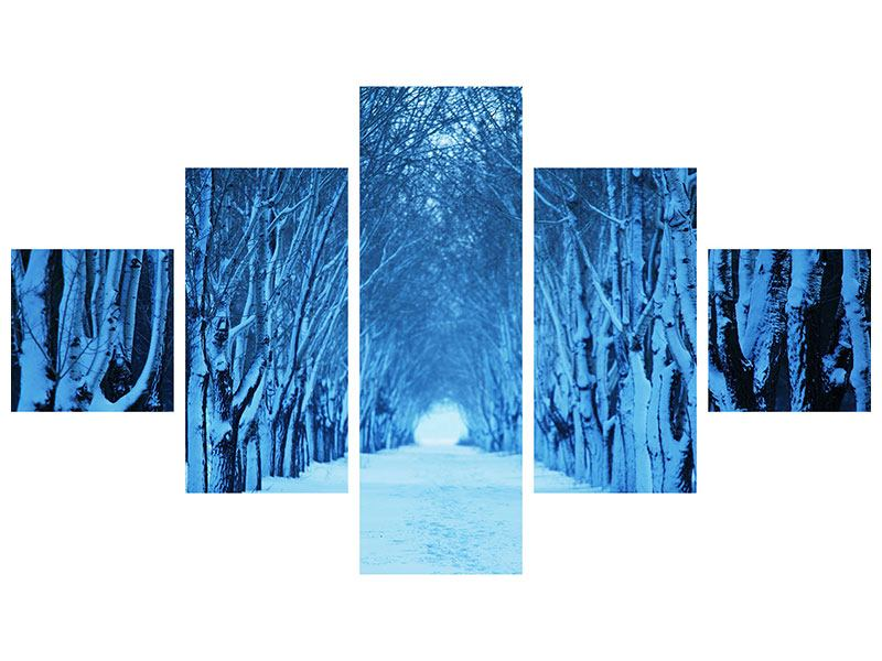 Acrylglasbild 5-teilig Winterbäume