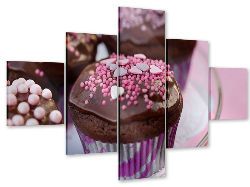 Acrylglasbild 5-teilig Muffins