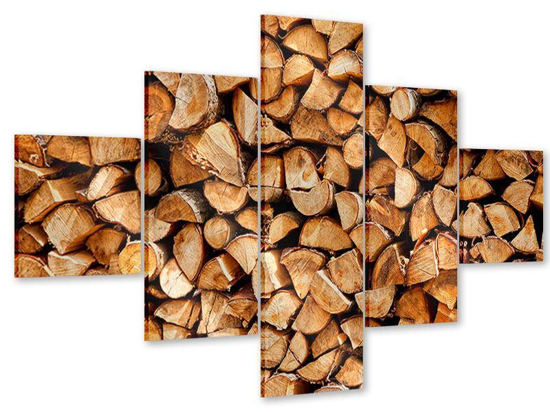 Acrylglasbild 5-teilig Gestapeltes Holz