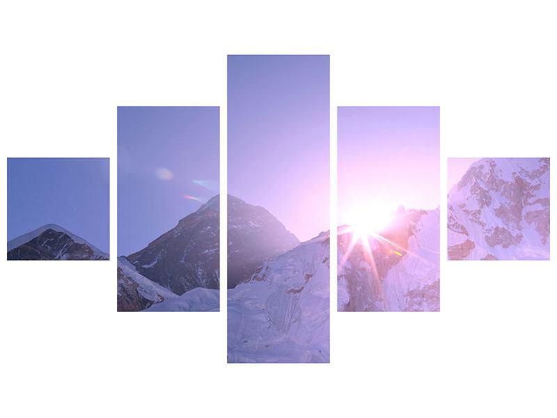 Acrylglasbild 5-teilig Sonnenaufgang beim Mount Everest