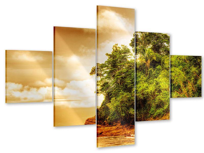 Acrylglasbild 5-teilig Sonnenuntergang am Ende des Waldes