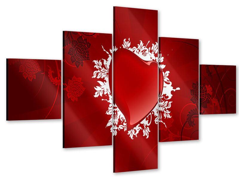 Acrylglasbild 5-teilig Flying Heart