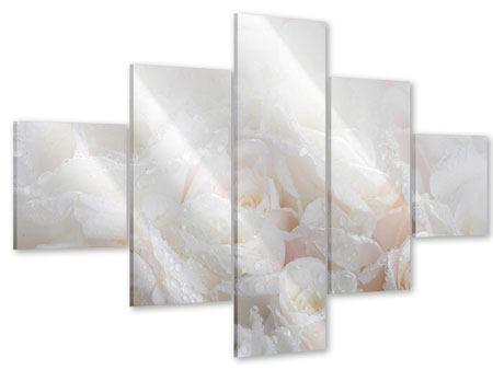 Acrylglasbild 5-teilig Weisse Rosen im Morgentau