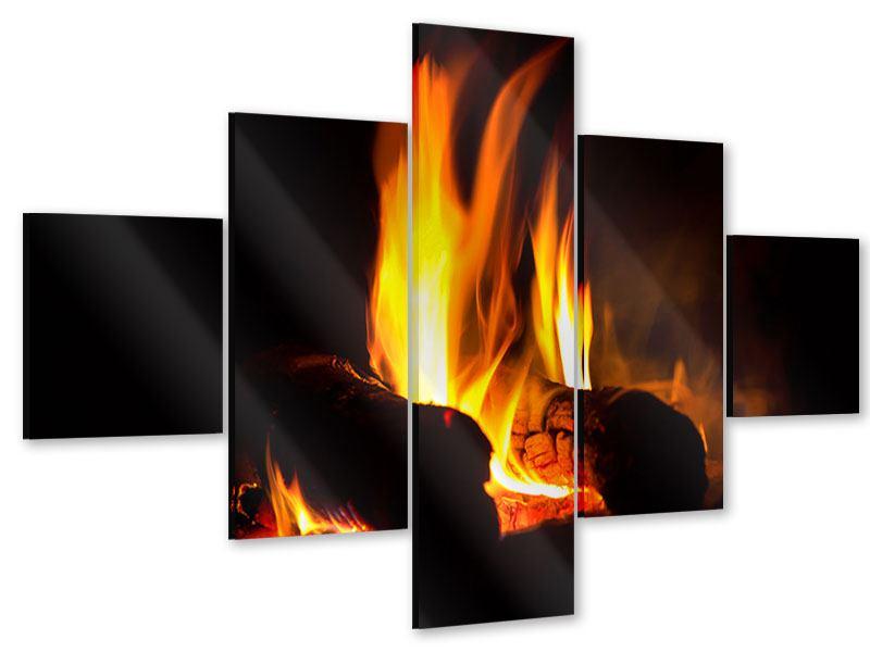 Acrylglasbild 5-teilig Der Kamin