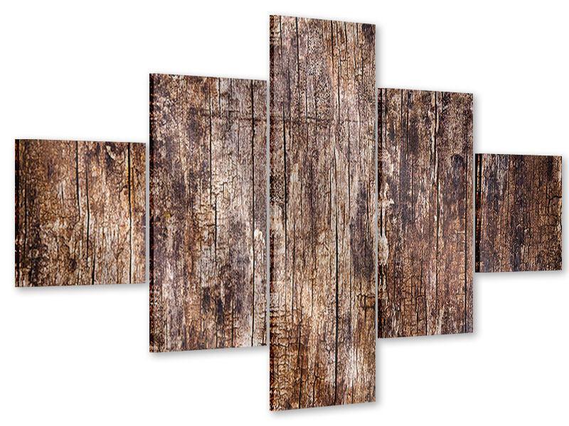 Acrylglasbild 5-teilig Retro-Holz