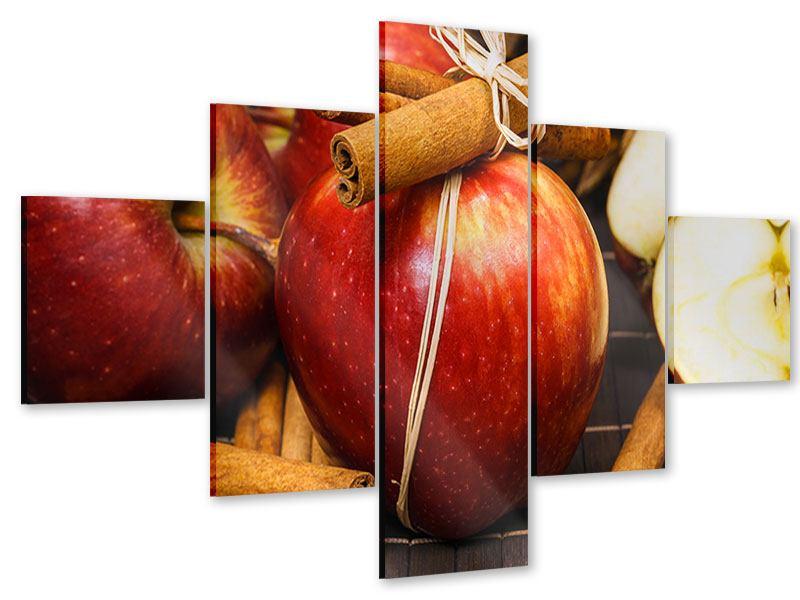 Acrylglasbild 5-teilig Äpfel