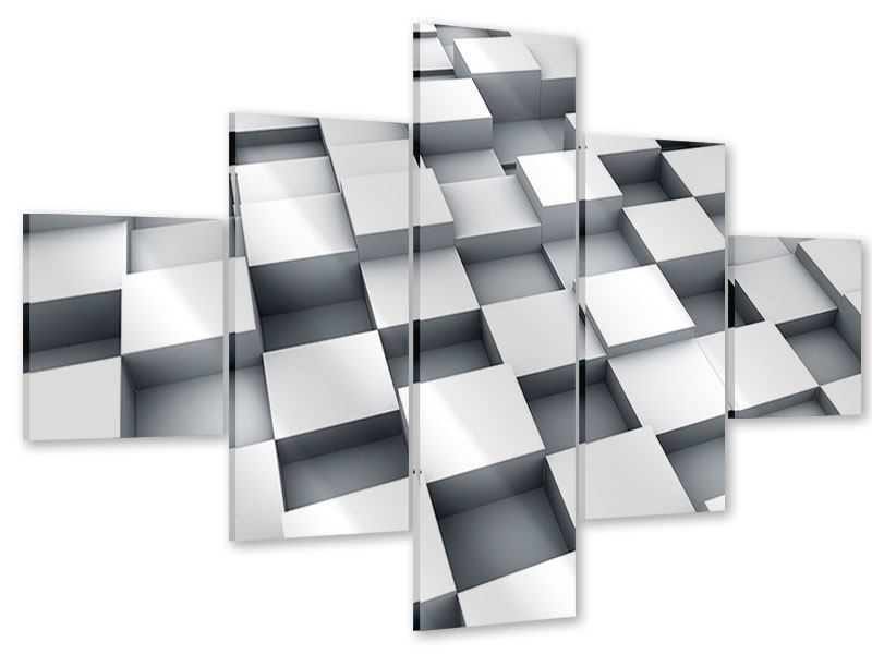 Acrylglasbild 5-teilig 3D-Kubus