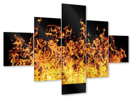 Acrylglasbild 5-teilig Moderne Feuerwand